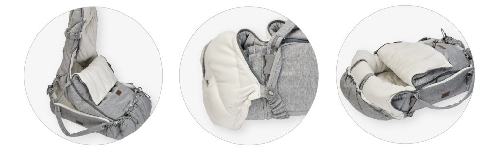 Najell footmuff Winter Cover in use with SleepCarrier