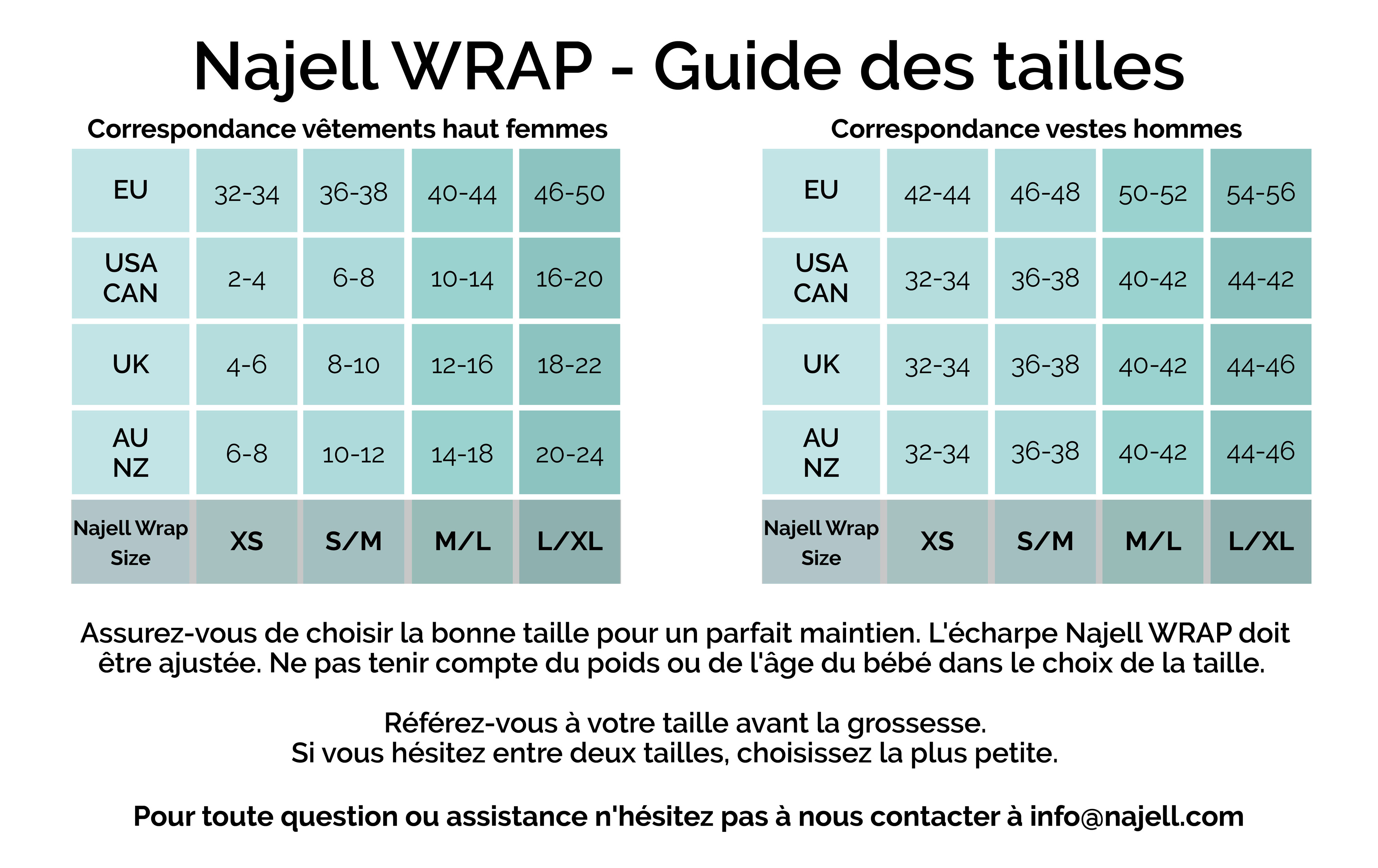 Najell WRAP guide des tailles